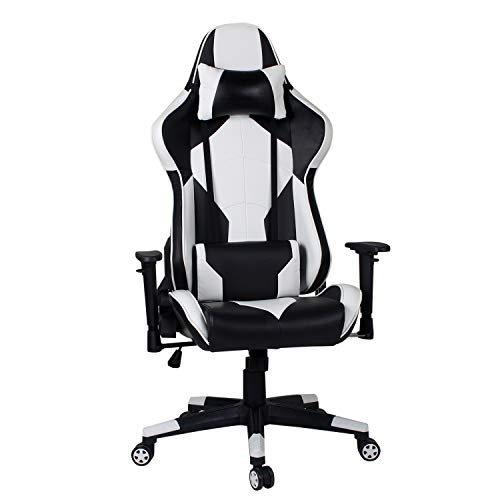 Hadwin Gaming Chair PC Computer Office Racing Chair with Back and Neck Support, Ergonomic Desk Chair High Back Leather PC Office Chair