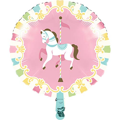 Creative Converting Carousel Horse Mylar METALLIC BALLOON 18, Multicolor