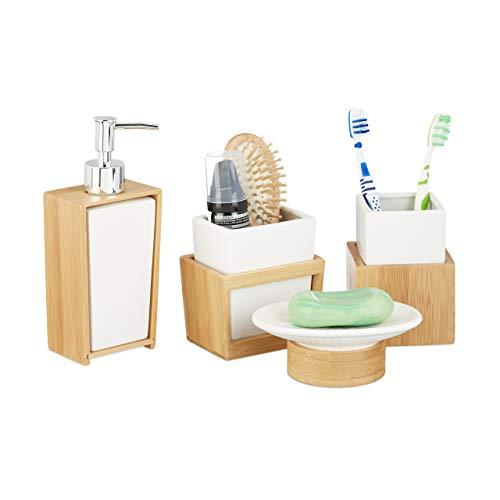 Relaxdays 10022205 Set Accessori Bagno 4 Pezzi, Dispenser, Porta-Sapone, Porta-Spazzolino, Bambù, Ceramica, Marrone e Bianco