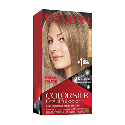 Revlon Colorsilk Beautiful Color, Permanent Hair Dye with Keratin, 100% Gray Coverage, Ammonia Free, 60 Dark Ash Blonde