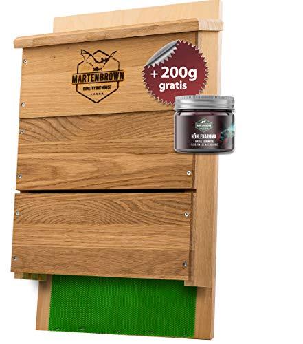Martenbrown® Großer Premium Fledermauskasten für bis zu 300 Fledermäuse I Fledermaus Nistkasten aus Eichenholz für Fledermäuse I Montagefertiges Fledermaus Haus + 200g Lockmittel