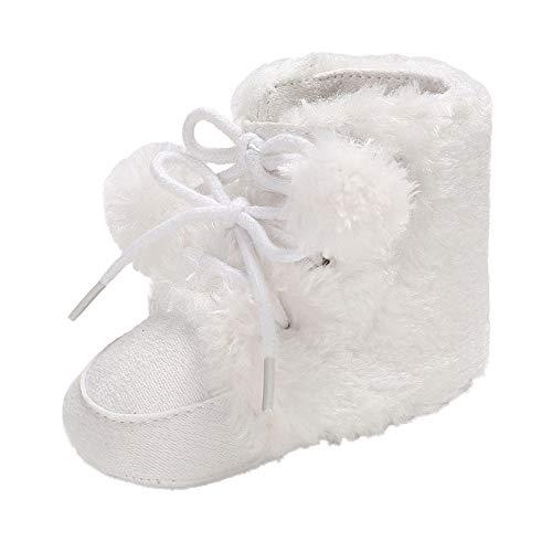 Botas Bebe Invierno, Zapatos de Nieve de Vendaje de Bola de Pelo de bebé...