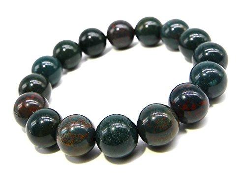 (SAJ) ブラッドストーン 12mm ブレスレット パワーストーン 天然石(17cm)