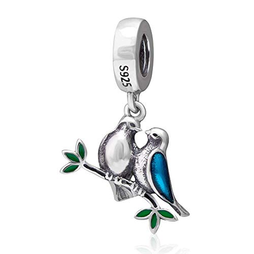 Abalorio de plata de ley 925 con diseño de pájaro y corazón, para pulsera Pandora (A)