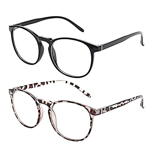 Amazon Brand–Eono Blaulichtfilter Brille für Damen Herren- Nerd Brille ohne Stärke - Anti Blaulicht Brillen für Computer, PC, Gaming, Fernsehen - 2er Pack