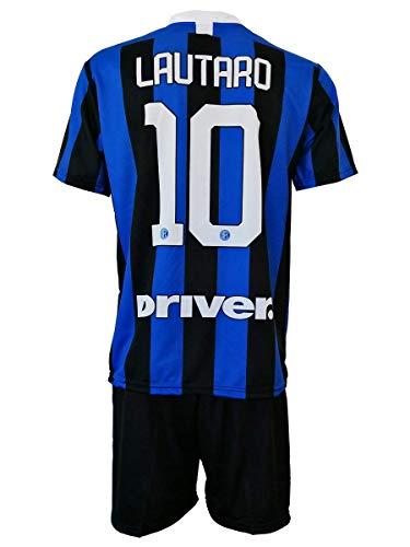 Completo LAUTARO Martinez Inter Ufficiale 2019-20 Bambino Uomo Adulto Maglia + Pantaloncini Pantaloncino Completino 10 Toro Home (8 Anni)