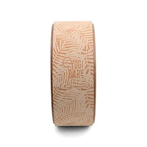Yogi Bare - Ruota Yoga per Stretching - Sughero Antiscivolo - migliora Mobilità e allevia Le tensioni - Supporto e flessibilità - 33 x 13 cm - Stampa Palmare