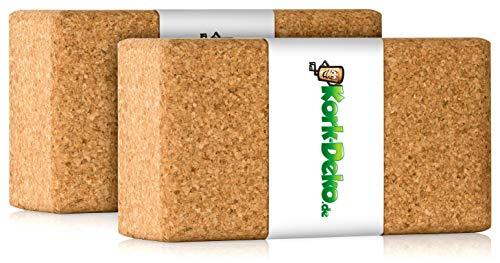 2x Bloques de Yoga de Corcho (Juego de 2), Ladrillo de Yoga 2 piezas (Bloque / Ladrillos de Yoga) XXL a base de corcho natural al 100% de | 22 x 12 x 7 cm (juego de 2 / pack doble / dos piezas, extra grande)