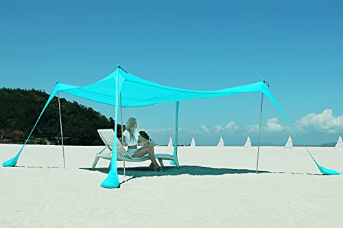 DIPUG Portable Beach Tent Canopy, Sun Shelter with UV Protection, Outdoor Shade with Sandbags, 4 Poles, Shovel and Anchors 10×10 FT, Turquoise