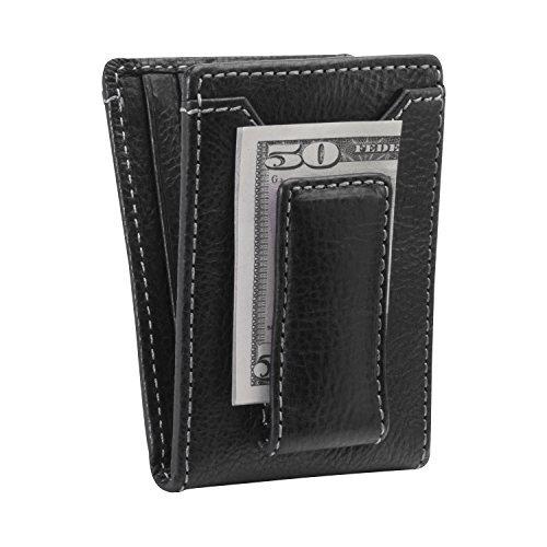 HOJ Co. IVAR ID BIFOLD Money Clip Wallet-Full Grain Leather-Magnetic Front Pocket Wallet (black)