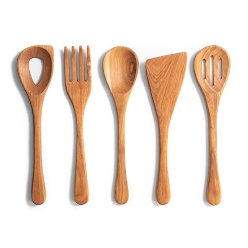 5 Piece Kitchen Utensil Set - Handmade Wooden...