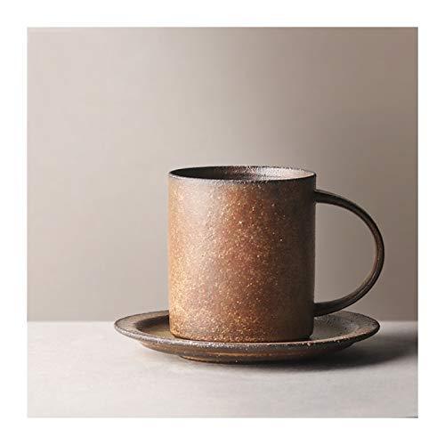 Taza para café, té Hecho a mano con la taza de café Conjunto platillo, taza de cerámica vidriada gruesa retro horno de la taza de té taza del desayuno, 230 ml / 7,8 oz Taza de bebidas calientes
