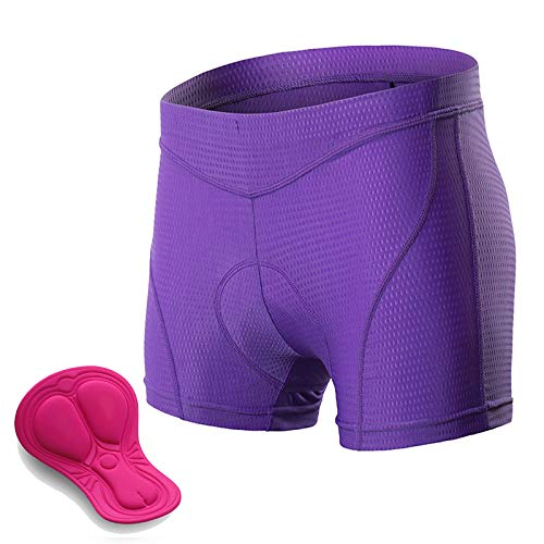 Padded Cycling Shorts Women, 3D Gel Shockproof Bike Underwear, Moisture Wicking Breathable Quick Dry Undershorts High Waist Underpants for Road Bike, Bicycle,Purple,S