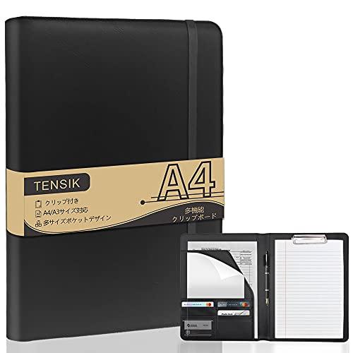 TENSIK バインダー A4 本革 クリップボード 高級感 クリップファイル クリップボードフォルダ 多機能フォルダー 書類整理 書類契約フォルダー カード 名刺入れ ペンホルダー付き 二つ折り オフィス 事務用品 ブラック
