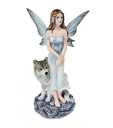 Les Alpes Orig. Fata degli Animali EDUIA con Lupo Bianco, Collezione Fairy Land, Altezza 24,5 cm - Statuetta Figura Dipinta a Mano - 042 649