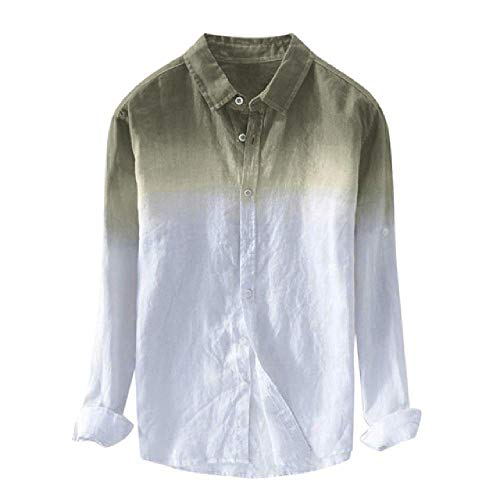 N\P Hombres Camisas Cool Thin Transpirable Solapa Collar Degradado Camisas para Hombres Chemise Homme