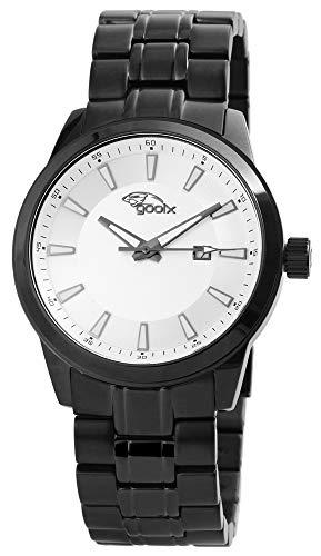 Gooix Herrenuhr Silber Schwarz Analog Datum Edelstahl Quarz Armbanduhr