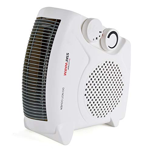 STAYWARM 2000w Upright and Flatbed Fan Heater with 2 Heat Settings/Cool Blow Fan/Variable Thermostat/Frost Watch/Overheat Protection/BEAB and GS Safety Approved – F2003WH – White