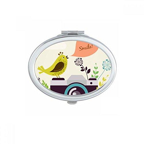 DIYthinker Illustratie Vogel Groeten Op Camera Ovaal Compact Make-up Pocket Spiegel Draagbare Leuke Kleine Hand Spiegels Gift