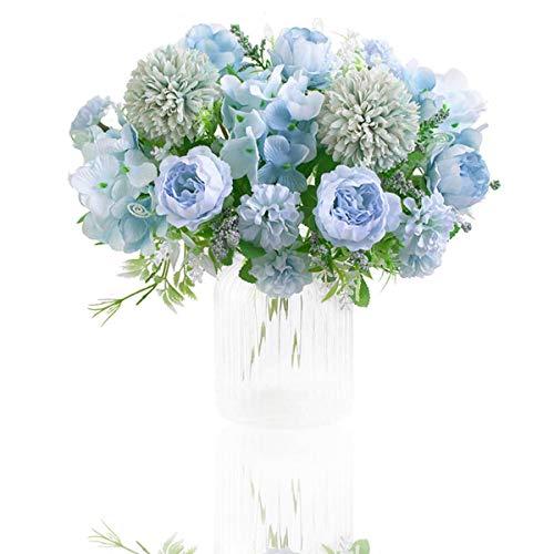 Flores Artificiales, Paquete de 2 Decoraciones de Ramo de Imitación, Arreglos Florales de Plástico Realistas, Decoraciones de Boda, Centros de Mesa, Decoraciones Para Fiestas de Oficina (Azul)