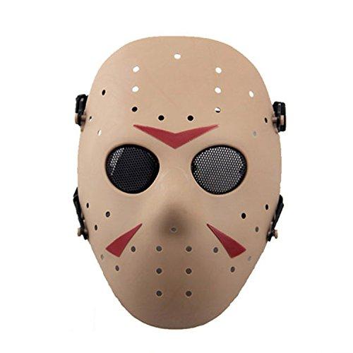 Máscara de Jason de Haoyk CS Games, máscara de malla, metal y cobre con protección completa de la cara, para Halloween, fiestas de disfraces, DE