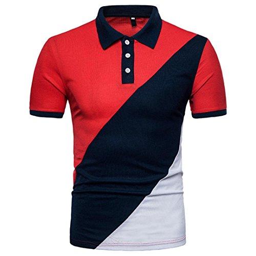 Herren Poloshirt Sommer Slim Fit Patchwork T-Shirt Klassisch Freizeit Hemd Party Polohemd Kurzarmshirt Sommerhemd Sportshirt Streetwear Men Polo Shirt Herrenhemden URSING (S(Asian S=EU XS), Rot)