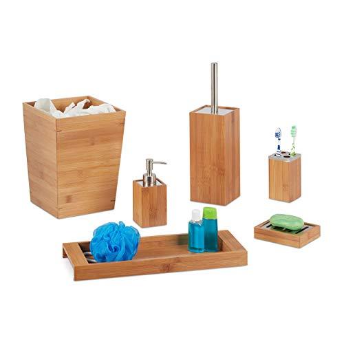 Todos los accesorios de baño hechos de bambú