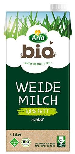 Arla BIO Haltbare Weidemilch 3.8{cf3741138652e5679012dd770610e85ee4ea89d2695964b90df7b4e00f960374} Fett, Bio H-Milch aus artgerechter Tierhaltung, 1 l