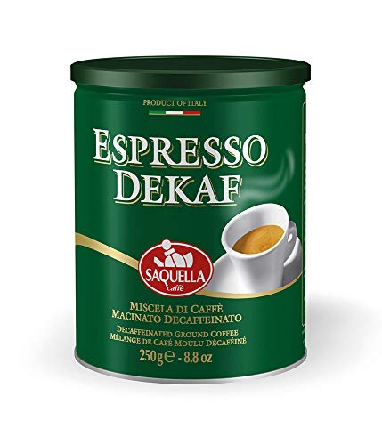 SAQUELLA caffè, Espresso Dekaf macinato per Moka - 6 lattine da 250 gr (totale 1,5 kg) d icaffè decaffeinato
