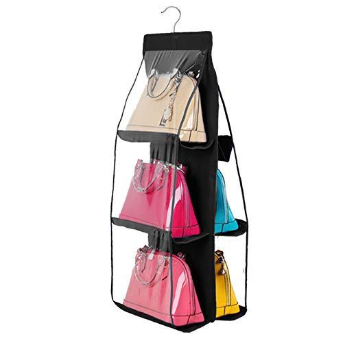 Geboor Handtaschen-Organizer zum Aufhängen, staubdicht, Aufbewahrungshalter, für Handtasche, Clutch, mit 6 größeren Taschen, Schwarz