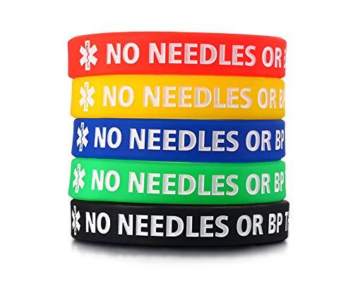 "VNOX 5Pcs a Set Silicone Type 1 Diabetes Medical Alert ID Bangle Bracelet,7.5"" (Style 1)"