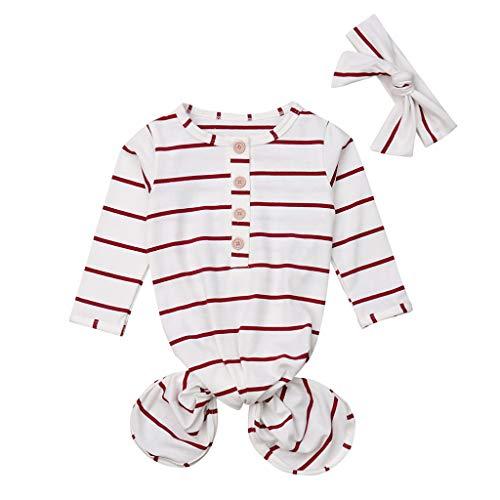 Pasgeboren Katoen Comfortabele Slaapzak Leuke Baby Jongen Meisje Streep Print wieg Wrap Swaddle+Hoed 2 STKS Kleding Set