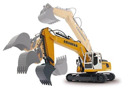 RC Auto kaufen Baufahrzeug Bild 3: Jamara 405060 - Bagger Liebherr R936 1:20 2,4G - realistische Funktionen (entladen/ aufladen), jedes Gelenk einzeln steuerbar, 660 ° Turmdrehung, Metallschaufel, Motorsound, Hupe, Rückfahrwarnsound*