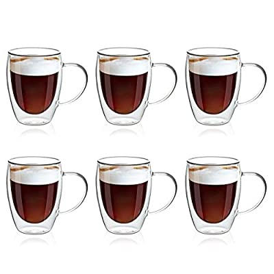 SMLIXE 12oz/6 pack Coffee Mugs,Clear Glass Double Wall Cup with handle for Coffee, Tea, Latte, Cappuccino (12 oz?6)