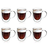 MEWAY 12oz/6 pack Coffee Mugs,Clear Glass Double Wall Cup with handle for Coffee, Tea, Latte, Cappuccino (12 oz,6)