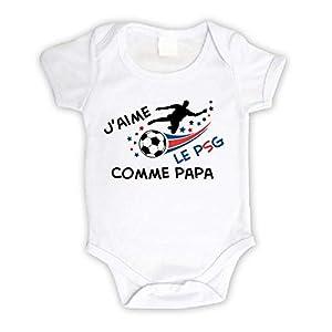 Body bébé personnalisé j'aime le PSG comme papa,body original foot manche courte 11