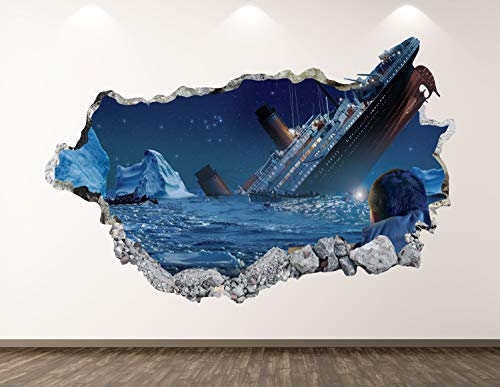3D Wall Sticker, Removable Wall Mural Decals, Wall Art Decor for Livingroom Bedroom Nursery, Titanic - Ship Movie Smashed Wall Decal - 32' at the Longest End