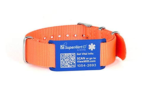 Dynotag® Web Enabled Smart Military Style Anodized Aluminum Medical ID and Emergency Contact Information with DynoIQ™ Includes Adjustable Wristband (6.1