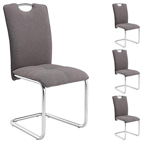IDIMEX Schwingstuhl Freischwinger Stuhl Eleonora, Esszimmerstuhl mit Stoff in grau, 4er Pack