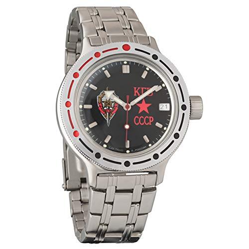 Vostok Amphibian 420457KGB Ruso Militar reloj 2416b 200m auto Negro