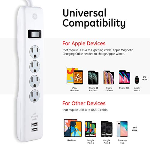 GE Power Strip Surge Protector, 4 Outlets, USB Charger with 2 Ports, 6 ft Power Cord, Twist to Close Safety Covers, 450 Joules, UL Listed, White, 36391 3