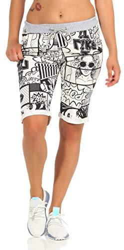 CLEOSTYLE Kurze Damen Bermuda, leichte luftige Hose für den Sommer, kurzer Jogger für Freizeit und Strand 9 (Comic)