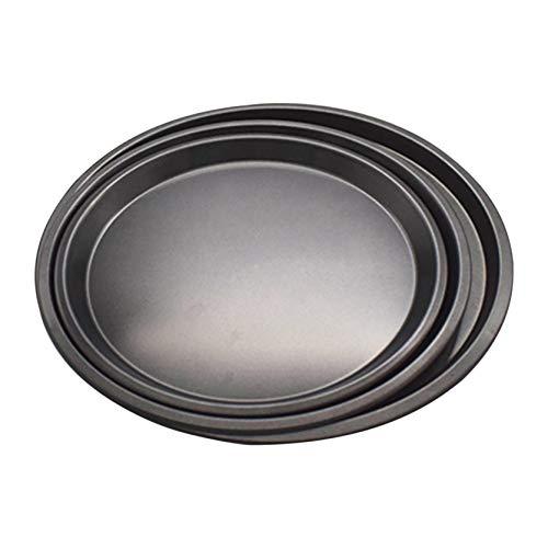 3 bandejas redondas para hornear pizza – 22,48 cm antiadherentes para hornear, bandeja para pizza, bandeja de cocina, molde para tartas, para restaurantes y pizzas caseras (negro)
