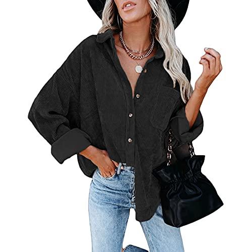 RICHBA Camisa de pana de manga larga con botones y bolsillos para mujer, Negro, XL