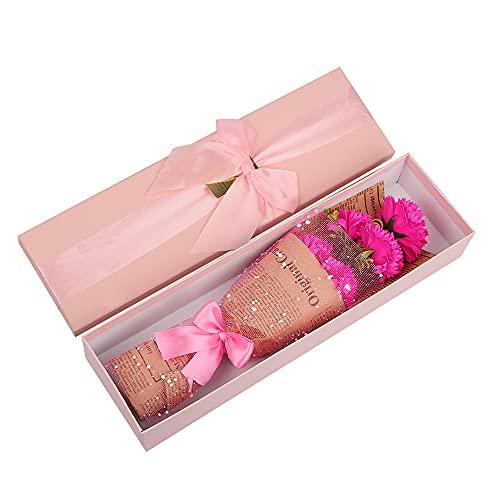 Flores Artificiales Claveles, Speyang Jabón Artificial Clavel Regalo, Claveles Perfumado Jabón de Baño Flor Artificial Bouquet Decoración, Caja de Regalo de Flores de Clavel (Rosa Roja)