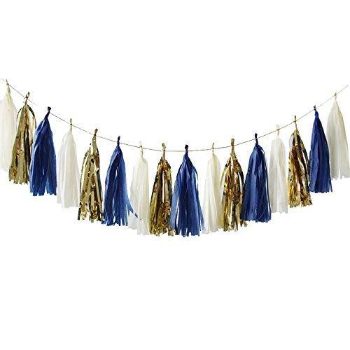Nicrolandee 15 Stück marineblaue Seidenpapier Quaste Girlande Goldfolie Kunst Party Girlande für Hochzeit Brautparty Baby Dusche Nautische Geburtstag Party Dekoration
