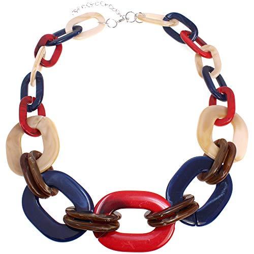 Fashion jewellery rainbow colour chunky acrylic resin large oval link tribal choker necklace