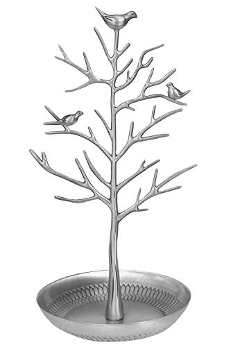 JQWORKLAND Silver Birds Tree Jewelry Stand Display Earring Necklace Holder Organizer Rack Tower-Silver