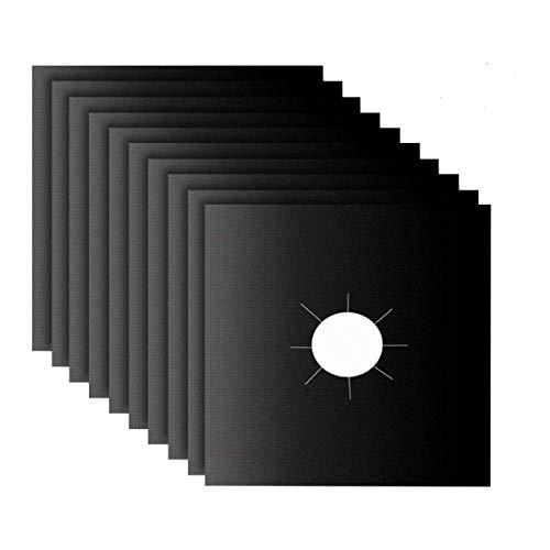 Protectores de Cocina de Gas 10 Estufa Quemador Cubiertas Negro 270x270x0.2mm, FDA Aprobado, Reutilizable, Antiadherente, Limpieza Rápida para Hornillos de Gas (10)