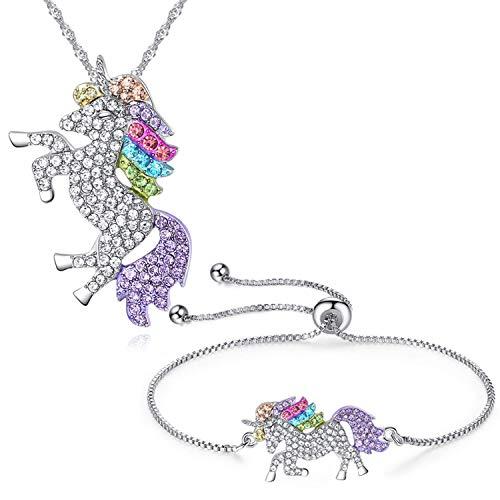 salefun Einhorn Anhänger Kette Halskette 2er Pack Regenbogen Einhorn Halskette Armband Mädchen...